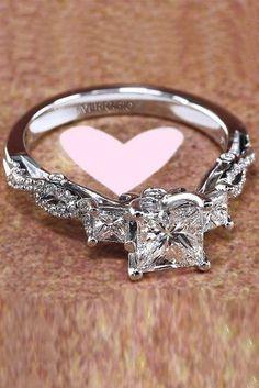 engagement ring designers princess cut diamond twist white gold #weddingrings #princessdiamondengagementrings