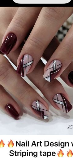Sophisticated Nails, Elegant Nails, Classy Nails, Classy Nail Designs, Black Nail Designs, Nail Art Designs, Polygel Nails, Chic Nails, Geometric Nail