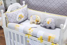 O Kit Berço Elefantinho Amarelo é um enxoval super moderno com direito a mix de estampas e cores para o quarto de bebê amarelo!