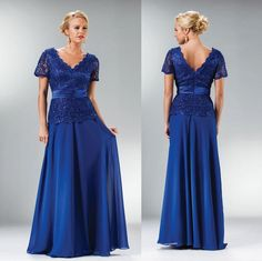 2015 Royal Blue Lace/Chiffon Plus Size Mother Dresses Short Sleeves Peplum Sheath/Column Modest Custom Evening Party Gowns Hot Collection Mother Of The Bride Gown, Mother Of Groom Dresses, Mothers Dresses, Bride Dresses, Evening Attire, Evening Party Gowns, Long Evening Gowns, Plus Size Vintage Dresses, Plus Size Gowns