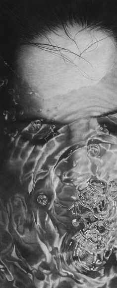 """""""Water on face 4"""" - Daisy {contemporary artist #hyperreal female head underwater woman b+w drawing}"""