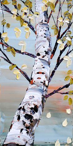 Maya Eventov Art Et Nature, Birch Tree Art, Art Drawings Beautiful, Guache, Monochrom, Autumn Art, Paintings I Love, Pictures To Paint, Acrylic Art