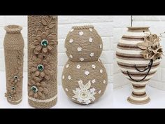 5 Jute flower vase | Home decorating ideas handmade | New 2020 - YouTube Jute Crafts, Diy And Crafts, Flower Vases, Flower Pots, Sisal, Jute Flowers, Clay Wall Art, Diy Paper, Rustic Decor