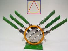 ART DECO vintage FRUIT KNIFE SET green BAKELITE modernism German flatware vtg #Modernism #Fruitknifeset