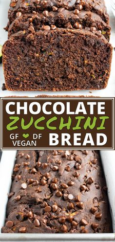 Chocolate Zucchini Bread gets loaded with chocolate chips for a super moist and secretly healthy breakfast bread or dessert recipe. It's a great zucchini recipe idea for the summer! You'd never guess that this easy chocolate bread recipe has a vegetable i Desserts Végétaliens, Healthy Dessert Recipes, Gluten Free Desserts, Dairy Free Recipes, Lactose Free Breakfasts, Free From Recipes, Popular Recipes, Gluten Free Dairy Free Bread Recipe, Healthy Zucchini Recipes