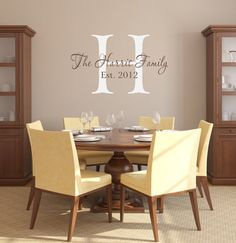 Family Name Vinyl Wall Decal Established Year Last by wallartsy