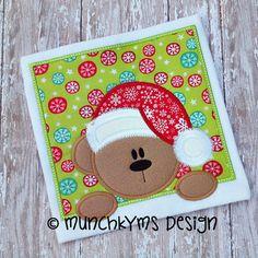Peeking Santa Bear Applique by MunchkymsDesign on Etsy, $4.00