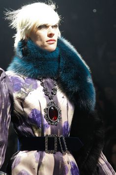 Lanvin AW12.  Turquoise fur (quite frankly, superb), printed silk and pendant necklace.  Styling at its best.