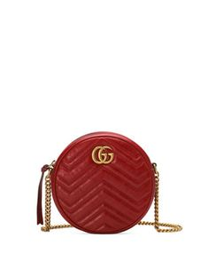 GG Marmont Mini Round Chevron Crossbody Bag by Gucci at Bergdorf Goodman. Gucci Handbags, Luxury Handbags, Gucci Bags, Fashion Handbags, Gucci Gifts, Tote Backpack, Duffle Bags, Messenger Bags, Travel Backpack