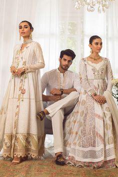 Annus Abrar - Women's clothing Designer. Floria How To Iron Clothes, Silk Pants, Indian Couture, Silk Thread, White Fabrics, Shirt Sleeves, Lace Detail, Cloths, Hemline