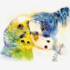 OlgaDvoryanskaya olga@pr-butik.com parrot bird illustration aquarelle ukrainian colors blue&yellow