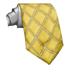 Gold Color Diamond Pattern Mardi Gras Tie