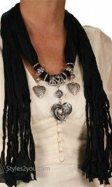 Heart and pearl jewelry scarf in several colors at Styles2you.com