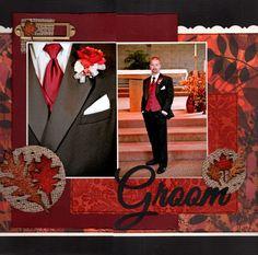 love this idea with the closeup detail of the groom for wedding scrapbook layout - Kaarten Maken Wedding Scrapbook Pages, Love Scrapbook, Album Scrapbook, Scrapbook Sketches, Scrapbook Page Layouts, Scrapbook Paper Crafts, Scrapbook Supplies, Scrapbook Patterns, Papel Scrapbook
