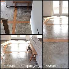 concrete floor with wood inlay Concrete Wood Floor, Polished Concrete Flooring, Floor Design, House Design, Floor Finishes, Kitchen Flooring, Wood Flooring, House Floor Plans, Great Rooms