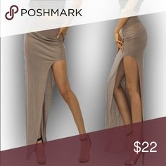 """Maxi Skirt With High Slit Khaki Taupe 💟Maxi skirt with high side slit 💟Sexy but comfortable! 💟Color is khaki/taupe that goes with everything 💟Polyester Spandex  💟Small: Waist 22""""-25"""" Hips 33""""-36"""" 💟Medium: Waist 25""""-28"""" Hips 35""""-39"""" 💟Love the outfit in last pic? I'm also selling this bodysuit in my closet!  🚫TRADES/HOLDS🚫 💰PRICE FIRM💰 🐣Please help me keep my closet friendly & drama free. If you're unhappy with my listing just purchase elsewhere🐣 💟Happy Poshing💟 Pinkerly Skirts…"""