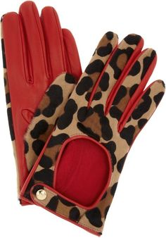 Leopard and Red leather Gloves for Winter