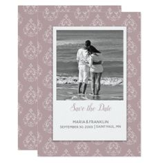 Dusty Rose Damask Save the Date Card - wedding invitations diy cyo special idea personalize card