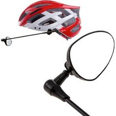 Bike Helmet Accessories - Bike Helmet Mirror with Flat Reflective Surface Fully Adjustable 360 Viewing 2 Velcro Pads for Cycling Safety Sturdy Build Lightweight Design * More info could be found at the image url.