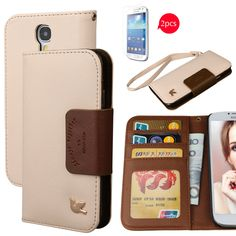 galaxy s4 case,case for Samsung Galaxy S4,By HiLDA,Wallet Case,PU Leather Case,Cut,Credit Card Holder,Flip Cover Skin[Brown]