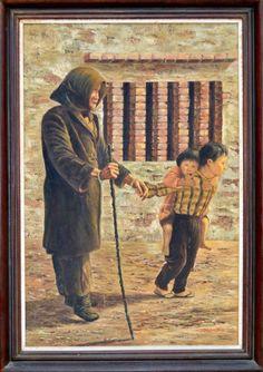 Escola Europeia - Avó e netos, óleo sobre tela. Med. 90 x 60 cm. Assinado.