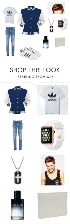 """Varsity Jock"" by hdglittergirl ❤ liked on Polyvore featuring adidas, Denham, David Yurman, Toni&Guy, Christian Dior, Fox, men's fashion and menswear"