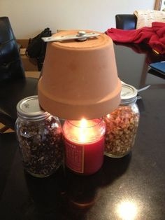 Candle powered heater for a small space.