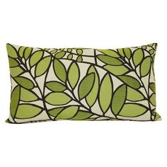 Home® Woven Leaf Oblong Toss Pillow - Green - $19.99