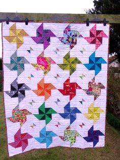 A pinwheel half-square triangle quilt | Little Island Quilting