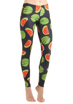 Fresh Take Leggings - Casual, Statement, Multi, Red, Green, Black, Novelty Print, Fruits, Long
