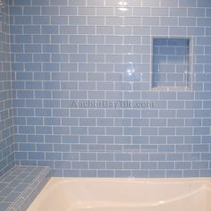 Solana Glass Subway Tiles Installed In Our Cool Blue Color