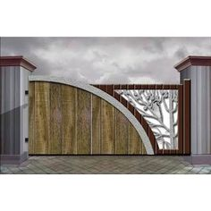 Unique look for this driveway gate entrance. Nov 2019 - 7 Awesome Gate Style that you'll Love Home Gate Design, Gate Wall Design, House Main Gates Design, Steel Gate Design, Front Gate Design, Railing Design, Fence Design, Door Design, House Front Gate