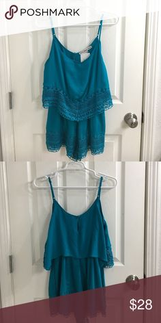 NWT Fabric On Earth TURQUOISE ROMPER This is the perfect outfit for special events in spring and summer time! Precious fit and only worn to try on! (I'm 5'2) • NWT • Smoke Free Home Fashion On Earth Other