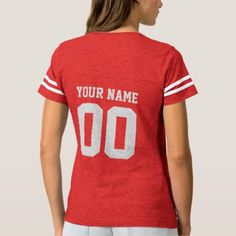 Custom Name Number Women's Football T-Shirt - create your own gifts personalize cyo custom