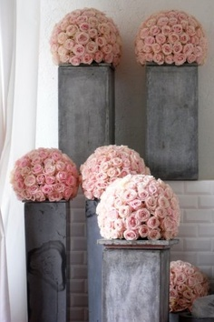 pink rose topiary decor events wedding party grand fetes from mariee magazine | pink and grey wedding ideas | pink and gray wedding decore | www.endorajewellery.etsy.com