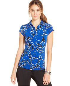 Alfani Cap-Sleeve Printed Polo Top, Only at Macy's - Tops - Women - Macy's
