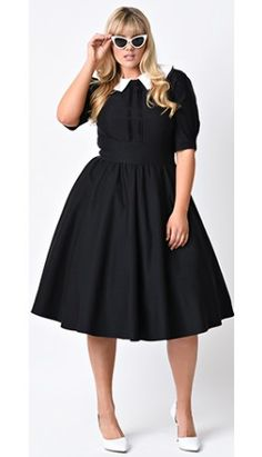 Shop Unique Vintage for the best selection of plus size pin up dresses, skirts, pants and tops from brands like Stop Staring, Bettie Page, and Steady. Plus Size Vintage Clothing, Plus Size Womens Clothing, Plus Size Fashion, Clothes For Women, Plus Size Black Dresses, Plus Size Dresses, Plus Size Outfits, Rockabilly, Estilo Pin Up
