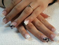 #nailsdesign  #nailart #uñas #diseños #french #black #animalprint