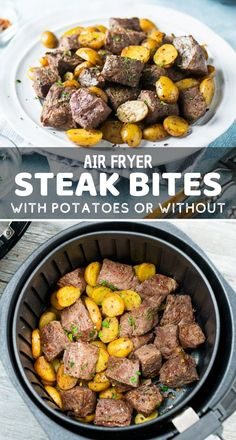 Air Fryer Steak Bites (with or without potatoes) - Air Fryer Recipes Air Fryer Recipes Appetizers, Air Fryer Recipes Vegetables, Air Fryer Recipes Snacks, Air Fryer Recipes Low Carb, Air Fryer Recipes Breakfast, Air Frier Recipes, Air Fryer Dinner Recipes, Veggies, Recipes Dinner