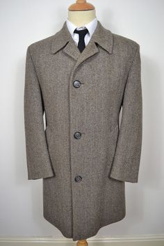 VINTAGE 1950 GREEN BRITISH ARMY WW2 OFFICERS OVERCOAT PEA COAT ...