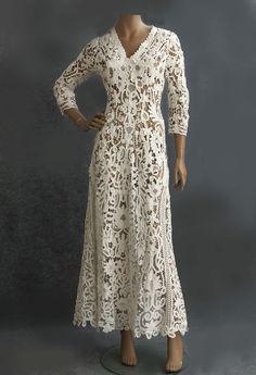 #2825 Battenberg lace dress at VintageTextile.com