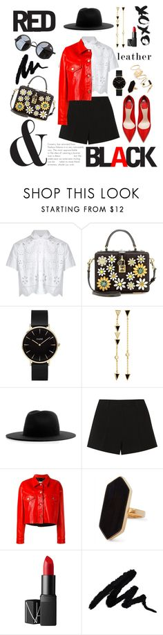 """""""Red is the New Black II"""" by petitefloweress ❤ liked on Polyvore featuring RED Valentino, Dolce&Gabbana, CLUSE, Retrò, Tai, Études, Emilio Pucci, Golden Goose, Jaeger and NARS Cosmetics"""