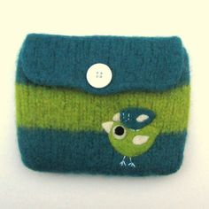 Pretty striped turquoise teal green knit felted pouch purse with two needle felted birdies birds. $25.00, via Etsy.