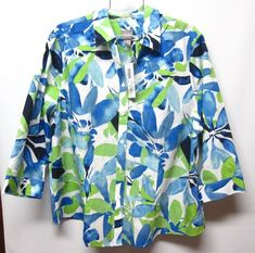 CHICO'S wrinkle resistant Floral Bliss Lorena BLOUSE Blue 3/4 slv sz 3/XL NWT #Chicos #Blouse