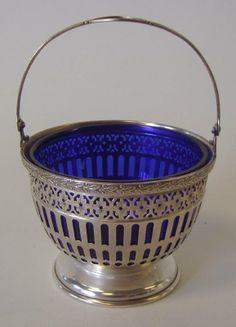 Sterling Silver & Cobalt Sugar Basket by Watson Silver Enamel, Antique Silver, Silver Plate, Cobalt Glass, Cobalt Blue, Salt Cellars, Sugar Bowls, Shades Of Blue, Candlesticks