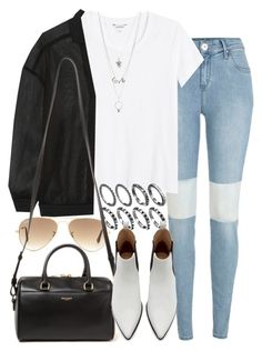 """Untitled #4730"" by nikka-phillips ❤ liked on Polyvore featuring River Island, Monki, STELLA McCARTNEY, Ray-Ban, Yves Saint Laurent, Zara and Charlotte Russe"