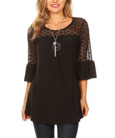 One Fashion Black Lace-Accent Bell Sleeve Top | zulily