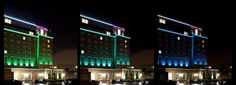 Greenwich Mercure Hotel 38-40 - colored LED uplighting to emphasize facade rhythm