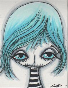 Make Art & Live Happy: cute zombies Cute Zombie, Quirky Girl, Bizarre Art, Gothic Fairy, Junk Art, Creepy Cute, Marker Art, Halloween Design, Mixed Media Art