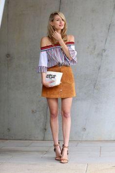 Carmenbluse kombinieren: Trend-Look mit A-Linienrock